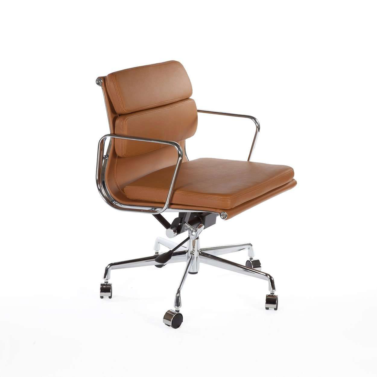 Low Back Padded Leather Office Chair Brown In 2020 Mid Century Modern Office Chair Mid Century Modern Desk Chair Brown Leather Office Chair