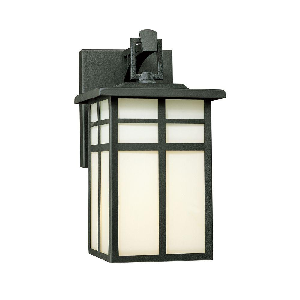 Thomas Lighting Mission 1 Light Black Outdoor Wall Mount Lantern Sconce Sl91047 The Home Depot Outdoor Wall Lighting Outdoor Sconces Black Outdoor Wall Lights