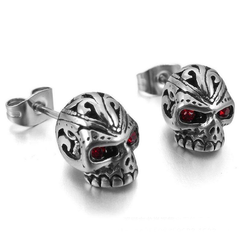 a49214538 Red Eyes Skull Stud Earrings Style #7887   Skull Earrings   Skull ...