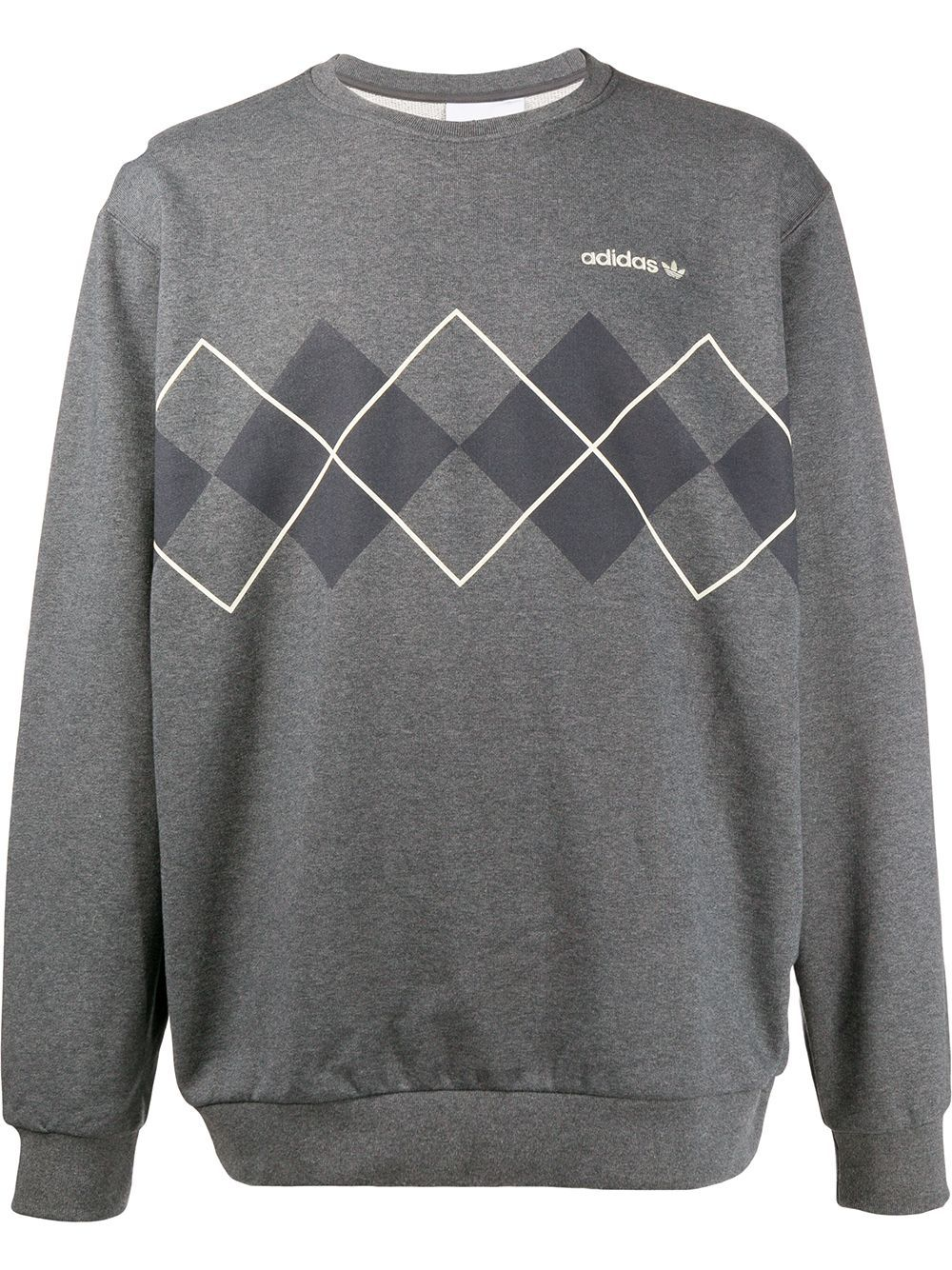 Adidas Argyle Print Sweatshirt Farfetch Sweatshirts Printed Sweatshirts Grey Sweatshirt [ 1334 x 1000 Pixel ]