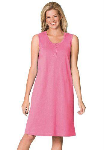 e8152a4c6b0 FashionBug Plus Size 3-Button Sleeveless Henley  Sleepshirt ...