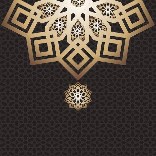 Eid Mubarak Card Arabic Design Dark Eid Arab Arabic Design Pattern Card Layout Black Gulf Fabric Dark Frame Background Seni Islamis Kartu Geometri