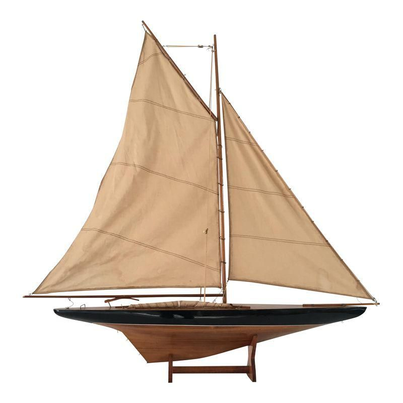 Vintage Wood & Cloth Sailboat Model with Stand Floating