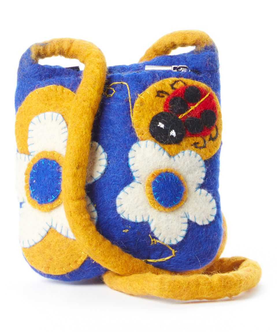 Blue & Yellow Blossoms & Ladybug Wool Shoulder Bag by Sassy Hip #zulily #zulilyfinds