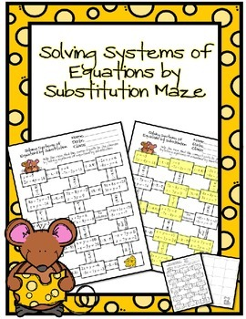 Solving Systems of Equations by Substitution Maze | Middle