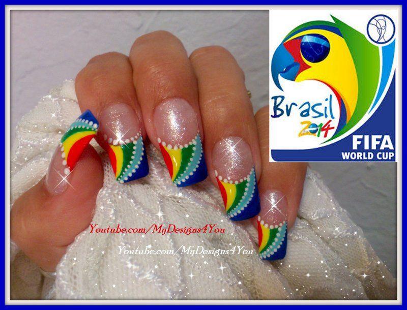 Fifa World Cup Nail Art Summer 2014 Brazil Httpsyoutube