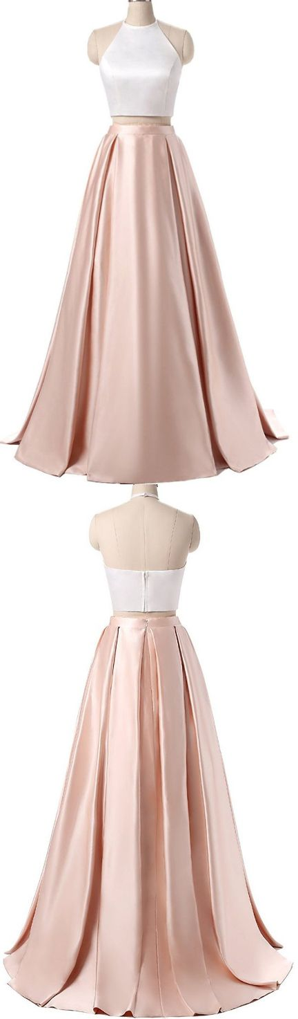 Charming Formal Halter Two Pieces Light Pink Prom Dress, Simple ...