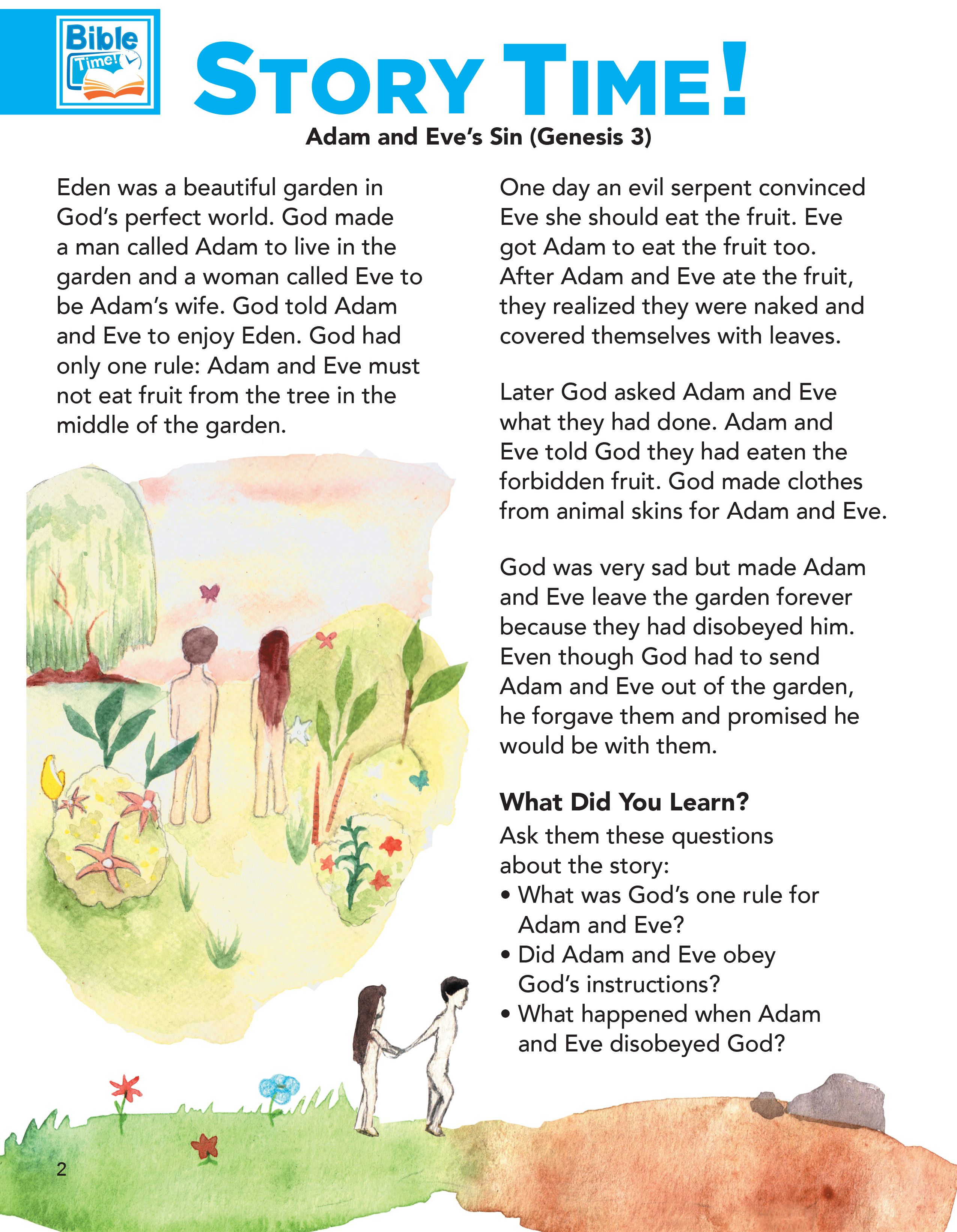 Adam And Eve Preschool Bible Lessons Easy Kids Bible Story For