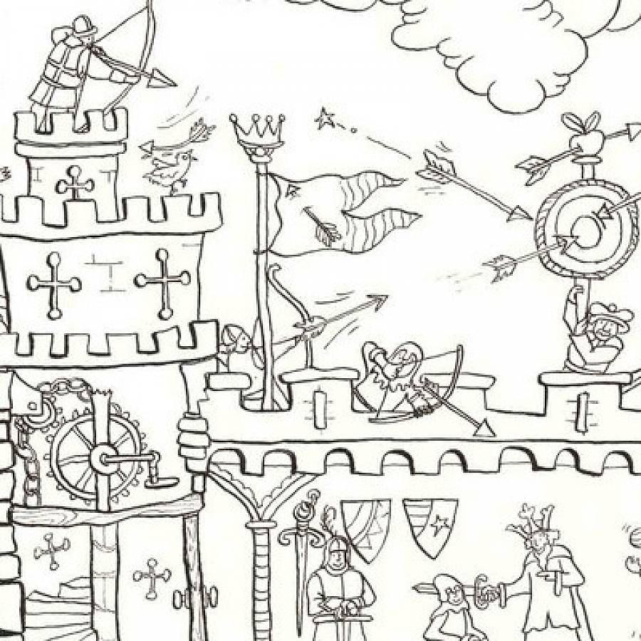 Medieval Castle Colouring In Poster | Medieval and Castles