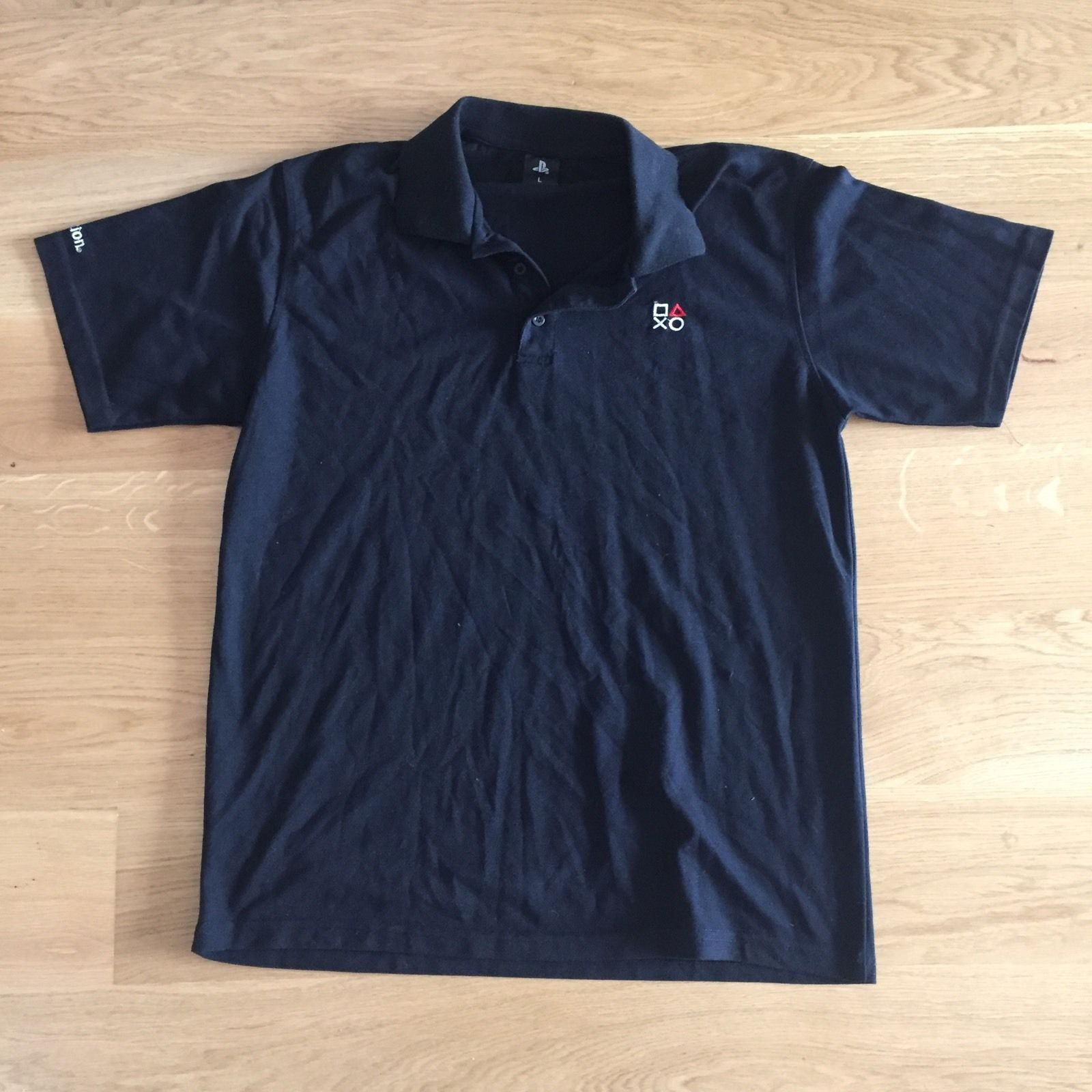 Black t shirt ebay - Playstation Polo Shirt Black Size L Retail Merchandise Vintage Ebay