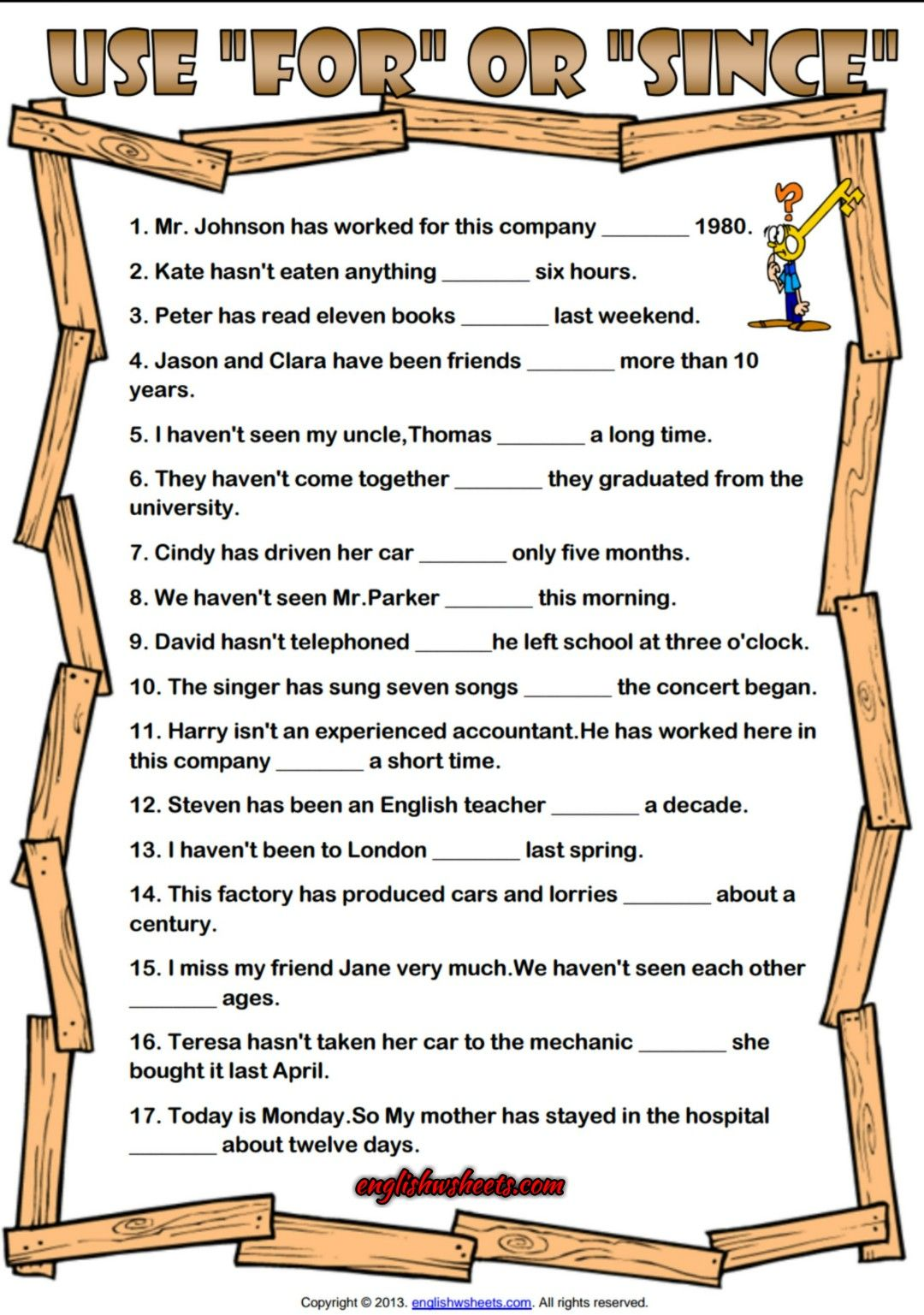 For And Since Esl Grammar Exercise Worksheet Grammar Exercises Present Perfect Tense Exercises Present Perfect [ 1537 x 1080 Pixel ]