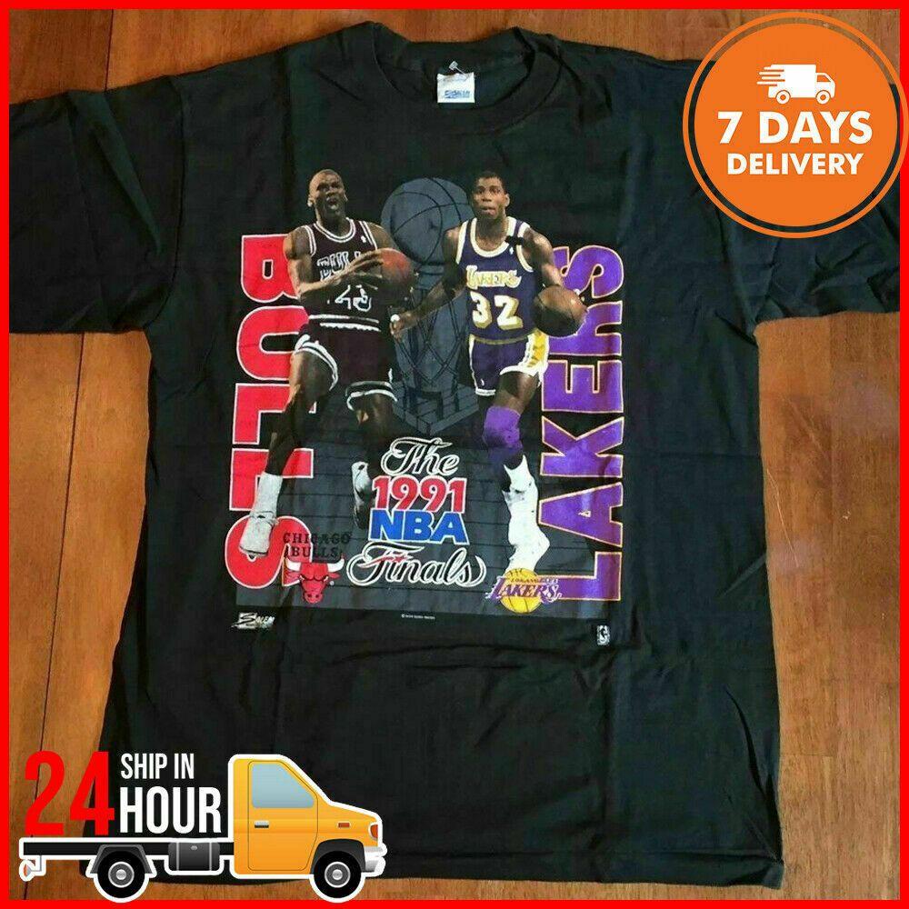 Vintage Michael Jordan T Shirt Magic Johnson Chicago Bulls T Shirt Reprint Fashion Clothing Shoes Accessories Michael Jordan T Shirts Shirts Jordan Shirts