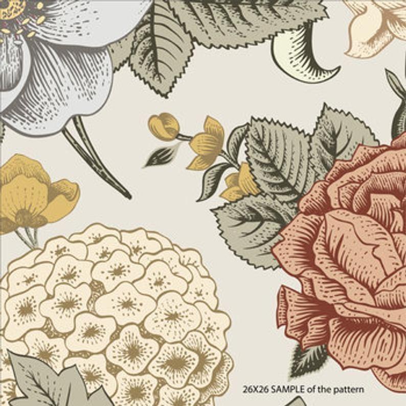 Boho Floral Large Scale Removable Wallpaper Removable In 2020 Removable Wallpaper Hand Painted Wallpaper Floral Wallpaper