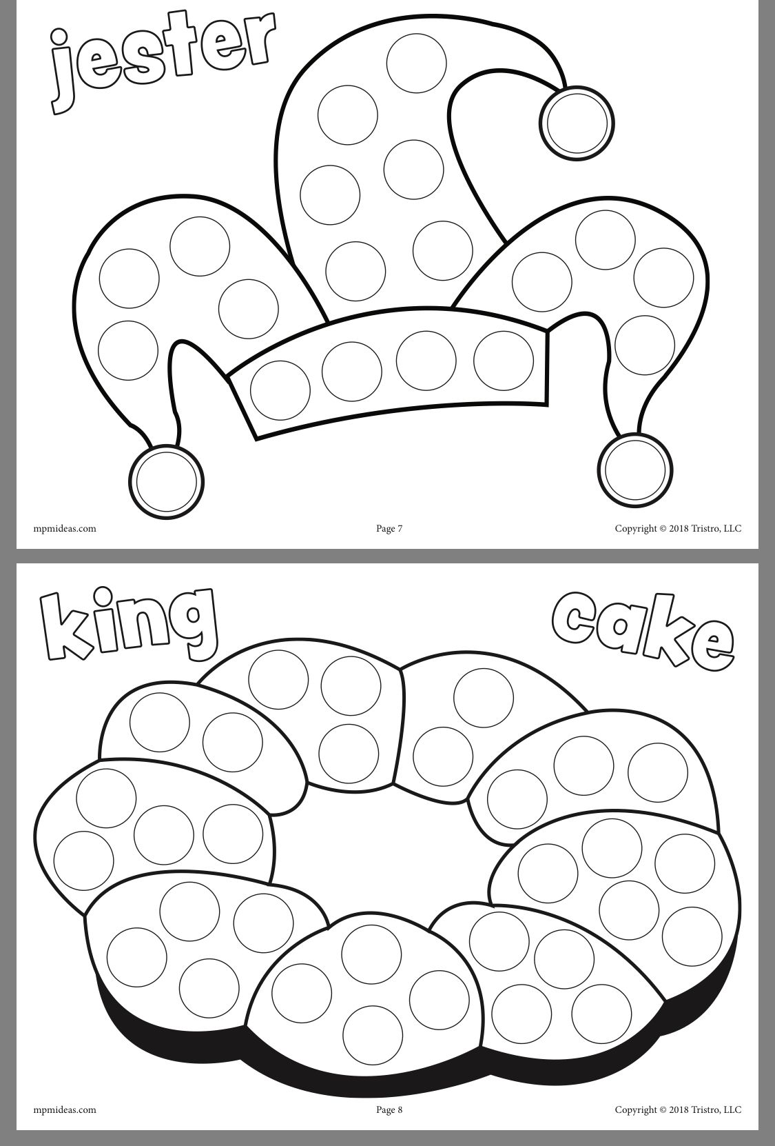 Mardi Gras King Cake Coloring Pages Collection