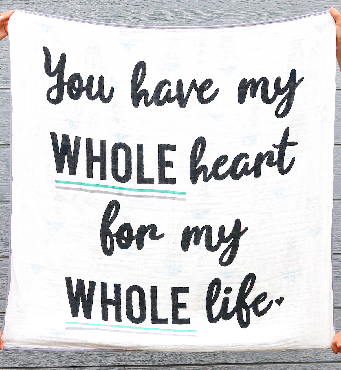 Blanket - My WHOLE Heart (Turquoise/Grey)