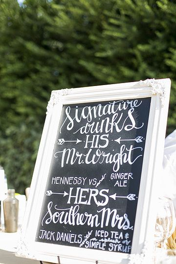 Fun way to personalize your cocktail hour.  Photo from MIA & DORELL WEDDING collection by Scott Clark Photo Inc.