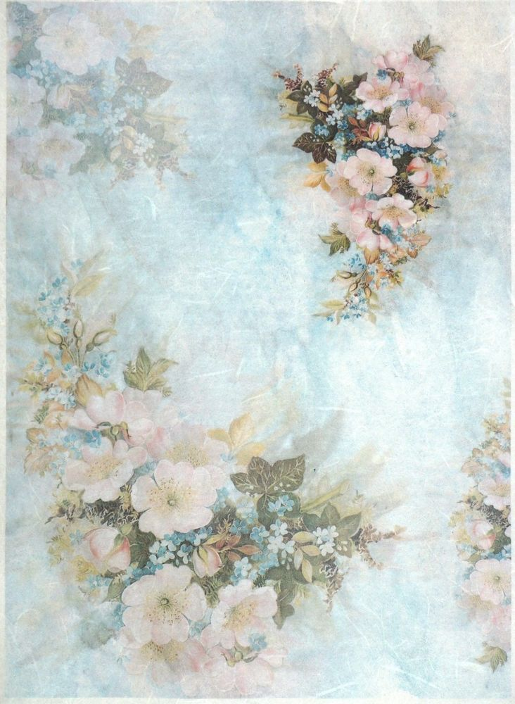 rice paper for decoupage decopatch scrapbook craft sheet a 3 vintage flowers. Black Bedroom Furniture Sets. Home Design Ideas