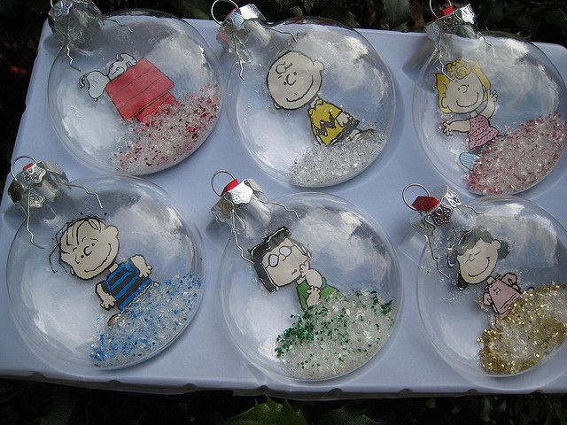 Set of 6 Peanuts Squashed Snow Globe Tree Ornaments by New England Quilter, via Flickr
