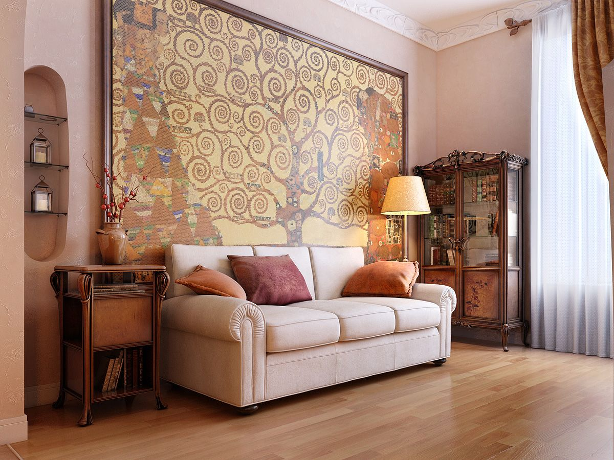 a gorgeous sofa and a magnificent painting create a stunning