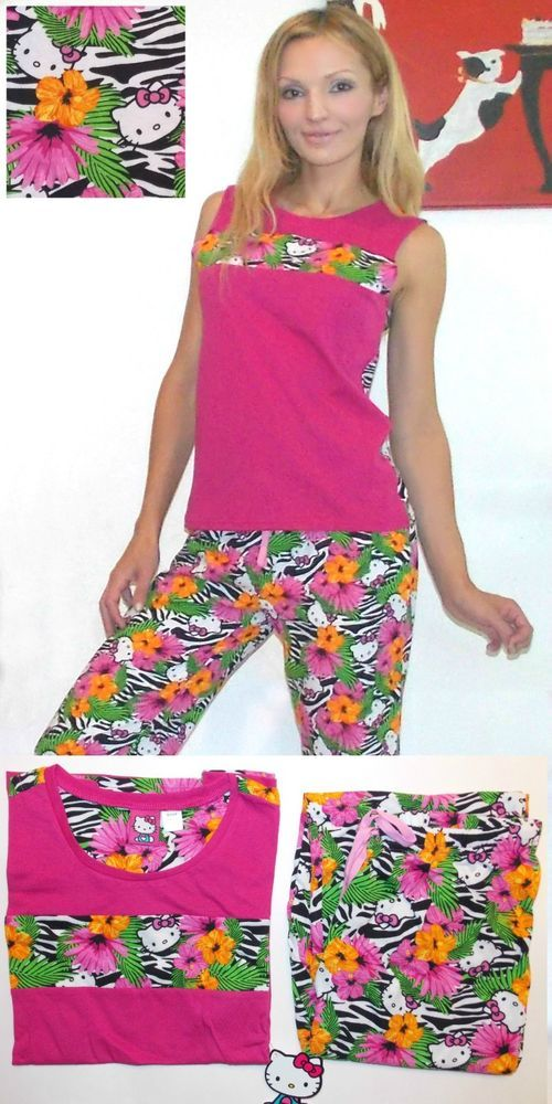 NWT Sanrio Hello Kitty  Floral Fever  Top and Pants Lounge Sleep Pajama Set  M df017915c