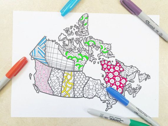 canada map kids adult coloring book page doodle doodling instant