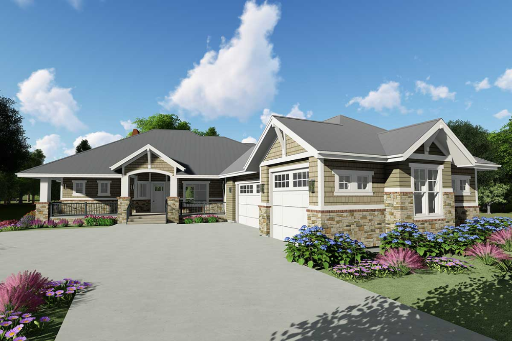 Plan 64465sc Downsized Craftsman Ranch Home Plan With Angled Garage Craftsman Style House Plans Craftsman House Plans Ranch House Plans