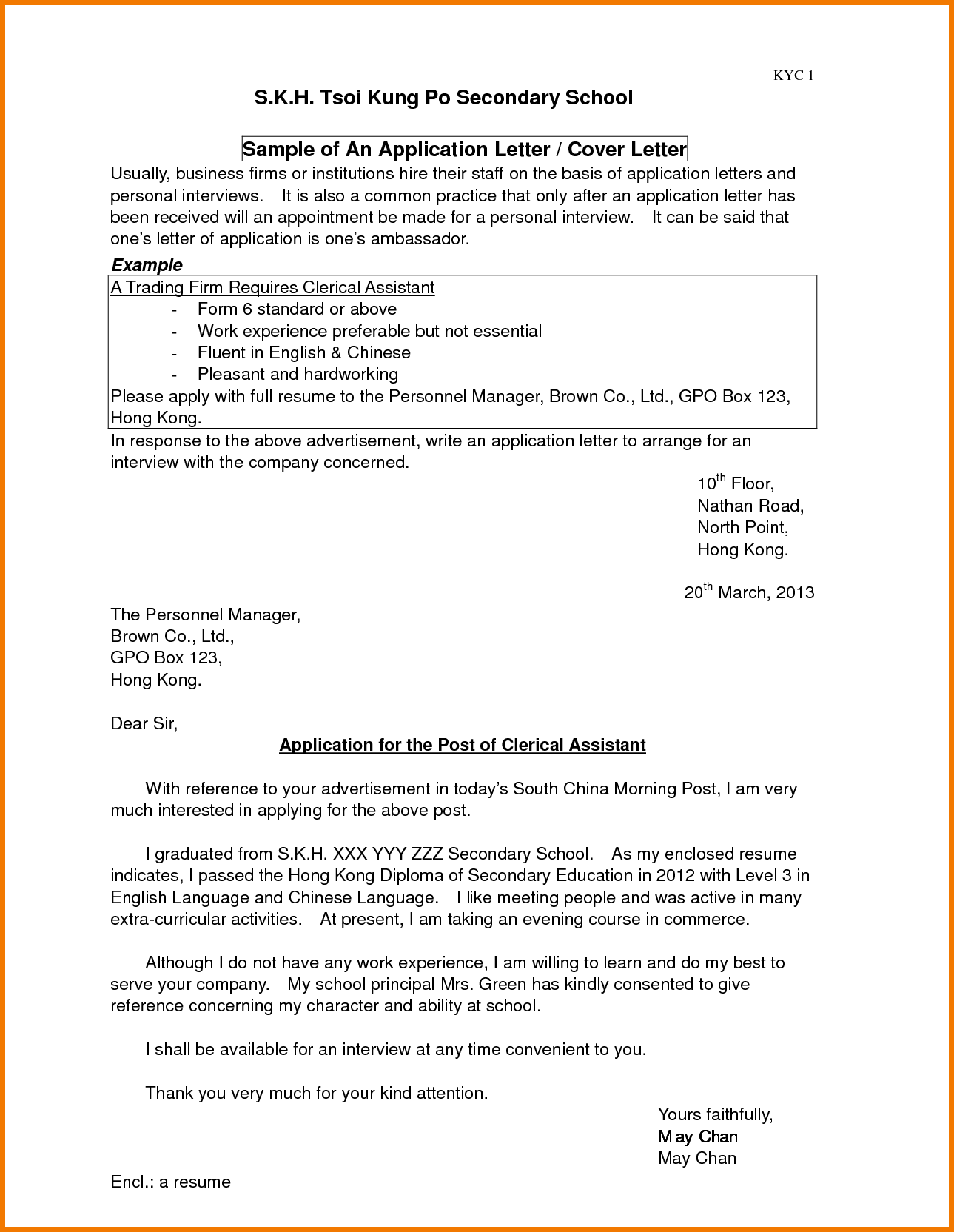 Application Letter For Admission School Appeal Letters Sample