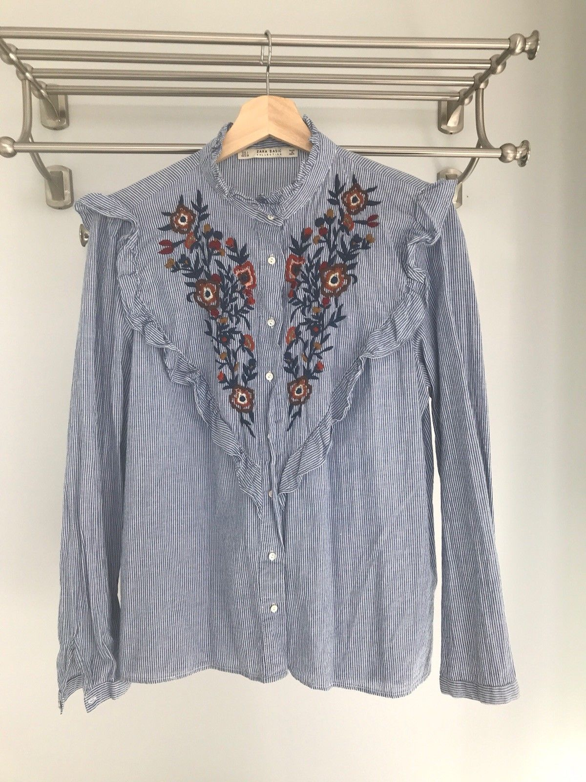 99fd53cfaec Zara blue and white stripe ruffle shirt with floral embroidery ...