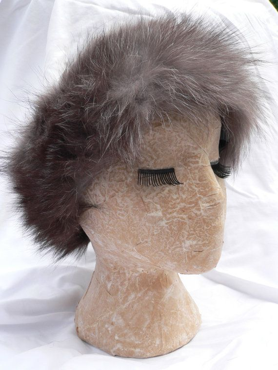 Huge Grey RABBIT FUR HEADBAND by HousewifeVintage on Etsy, $21.00