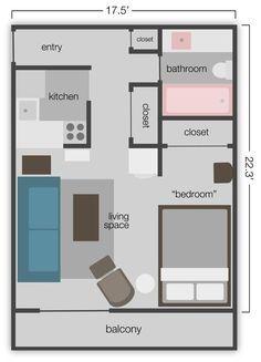 Studio Apt. Floor Plan .. Good For Mom W/ Alittle Tweeting.