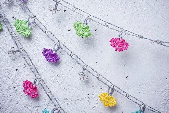 "turkish lace - needle lace - crochet - oya necklace - 127.95"" - free worldwide shipment with UPS - fatma-017"