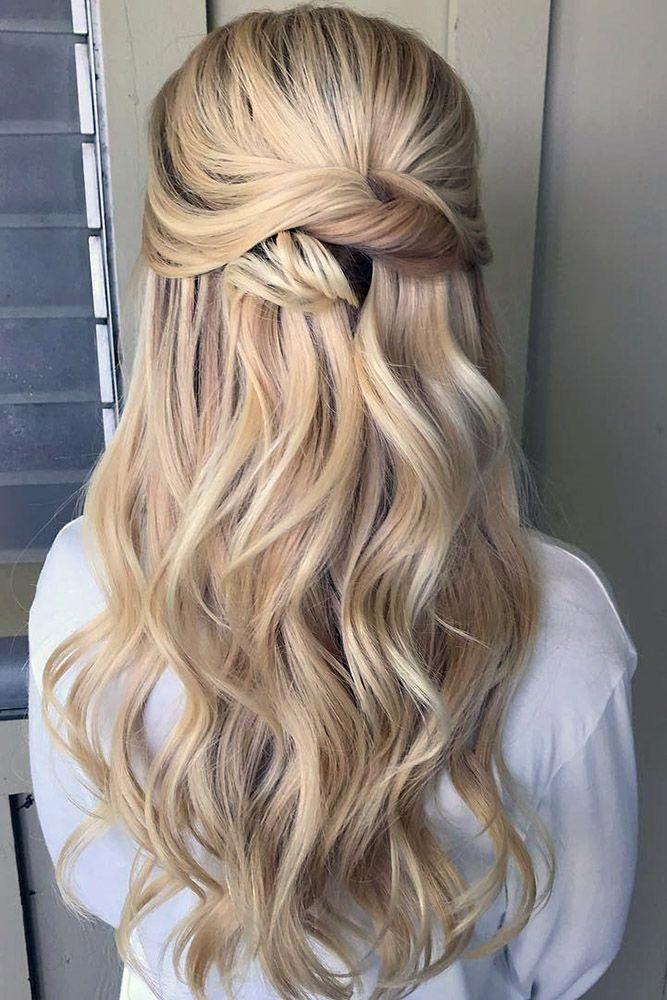 wedding hair half up long blonde curls simple swept