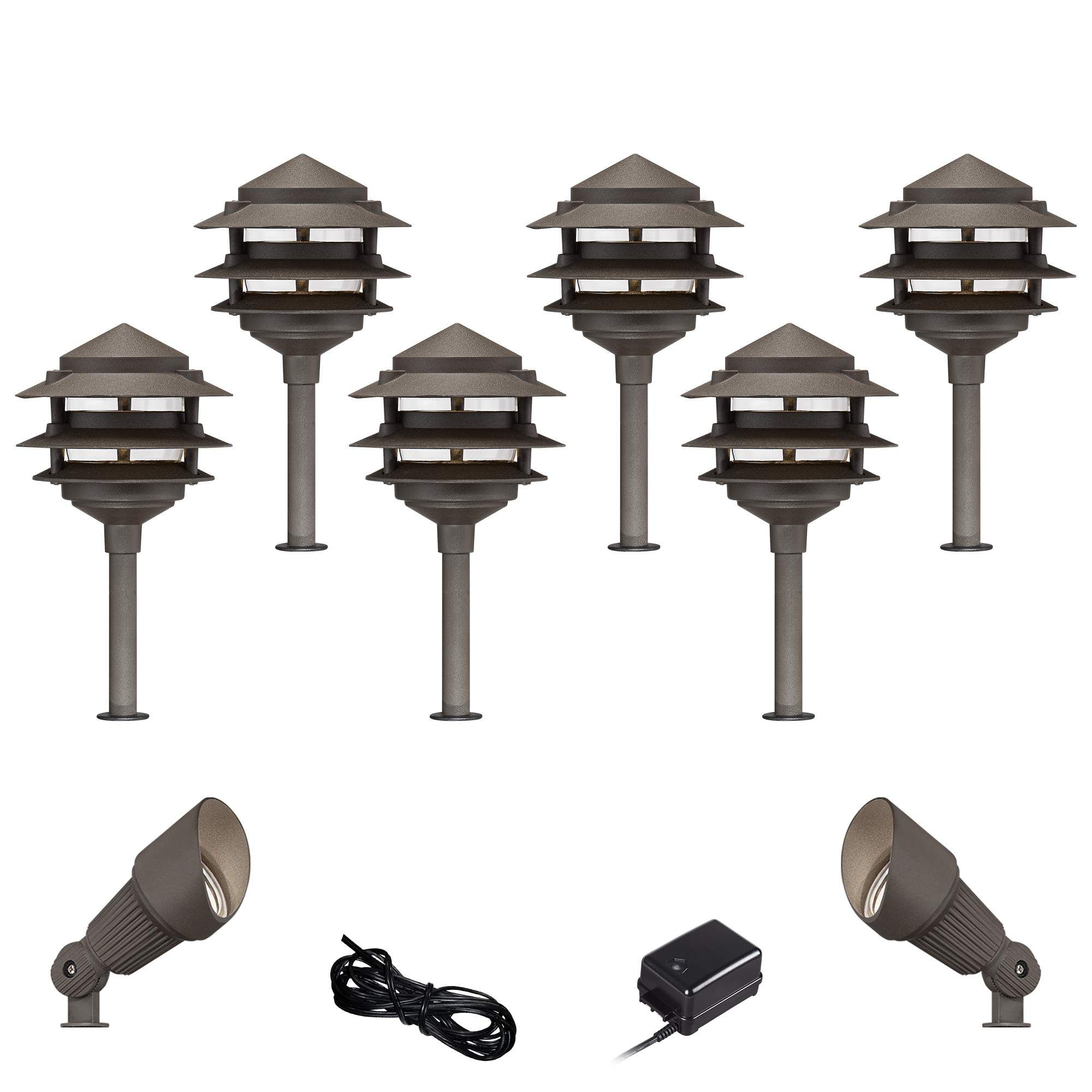 Landscape Lighting Pagoda Bronze 10 Piece Outdoor Led Landscape Lighting Set Led Landscape Lighting Outdoor Lighting Landscape Landscape Lighting Kits