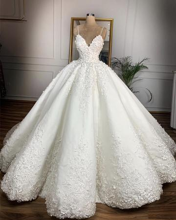 V Neck Satin Wedding Dresses Ball Gown Lace Embroidery is part of Ball gowns wedding - Summer Weddings Tailor Time712 Days Shipment35 Days
