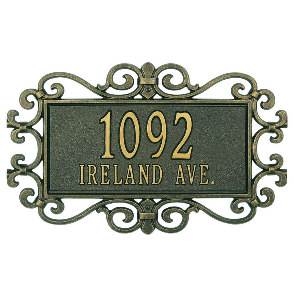 Whitehall Products Mears Fretwork Rectangular Bronze Gold Estate Wall Two Line Address Plaque Products Whitehall Products Address Plaque Wall Signs