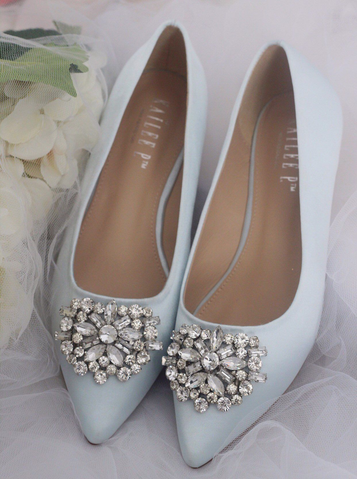 6aedae093582 LIGHT BLUE SATIN Pointy toe flats with oversized rhinestones brooch - Women Wedding  Shoes