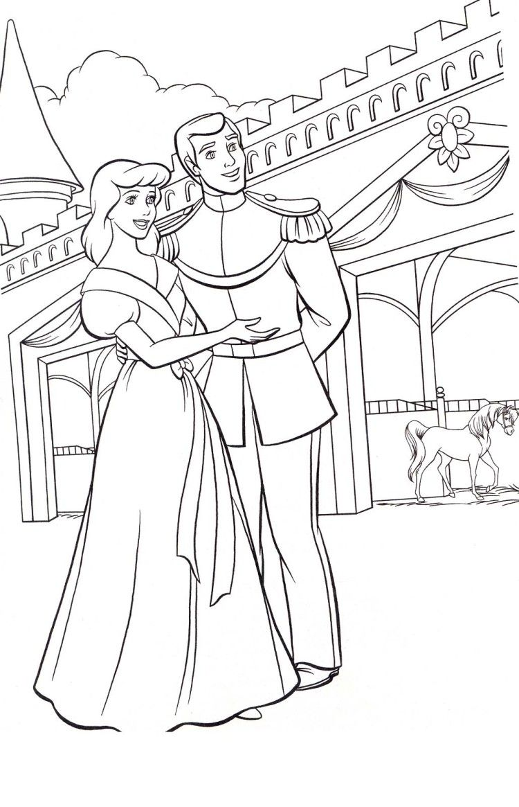 Prince Shows Something To Cinderella Coloring Pages | Colorables ...