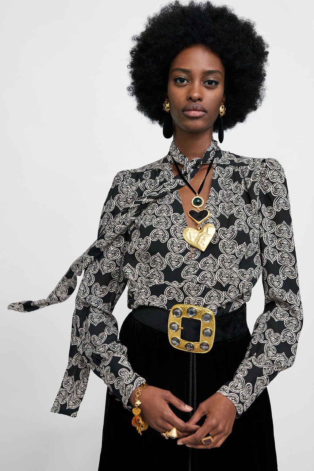 Zara Black Tie Neck Heart Shirt Size S