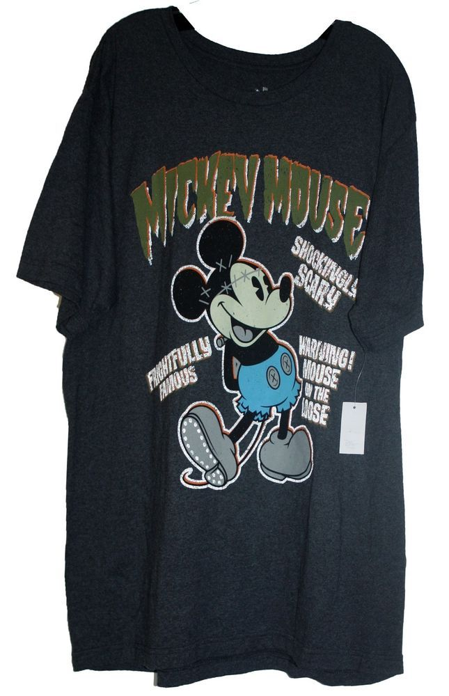 Disney Mickey Mouse Halloween Tee Shirt Adult L NWT Charcoal Scary100% Recycled #Disney #GraphicTee