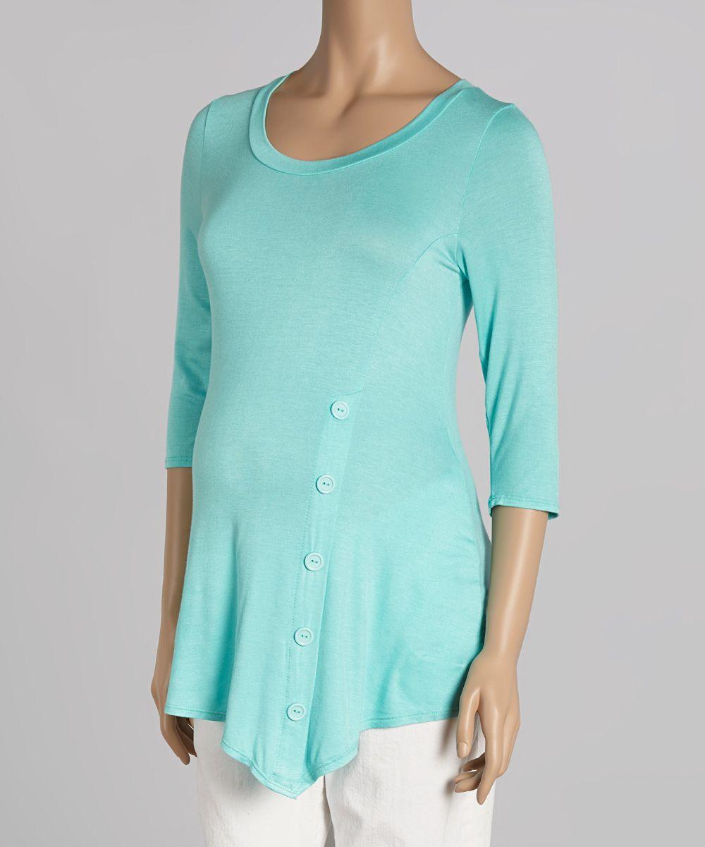Mint Asymmetrical Maternity/Nursing Tunic
