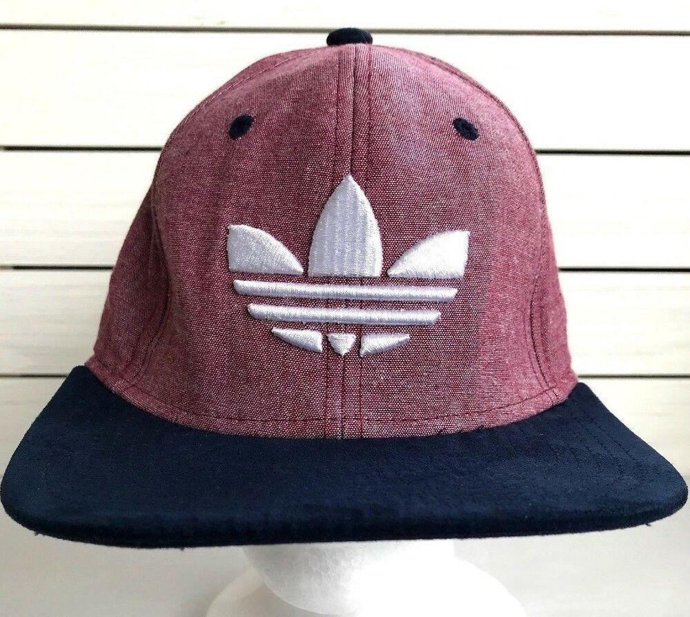 Adidas Original Red Hat Snapback Baseball Cap White Trefoil Logo Blue Flat  Bill  adidas   1b95ae395a3d