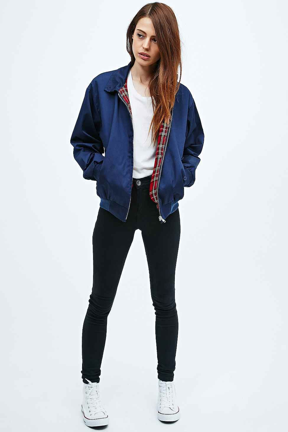 Urban Renewal Vintage Surplus u2013 Harrington-Jacke in Marineblau | Harrington jacket Urban ...