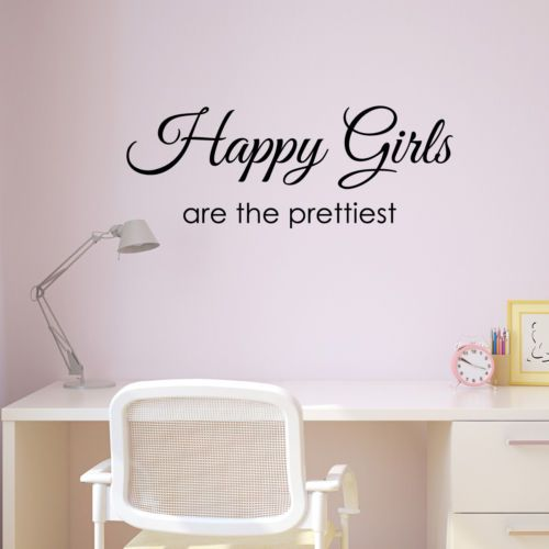 Details About Happy Girls Are The Prettiest Wall Sticker