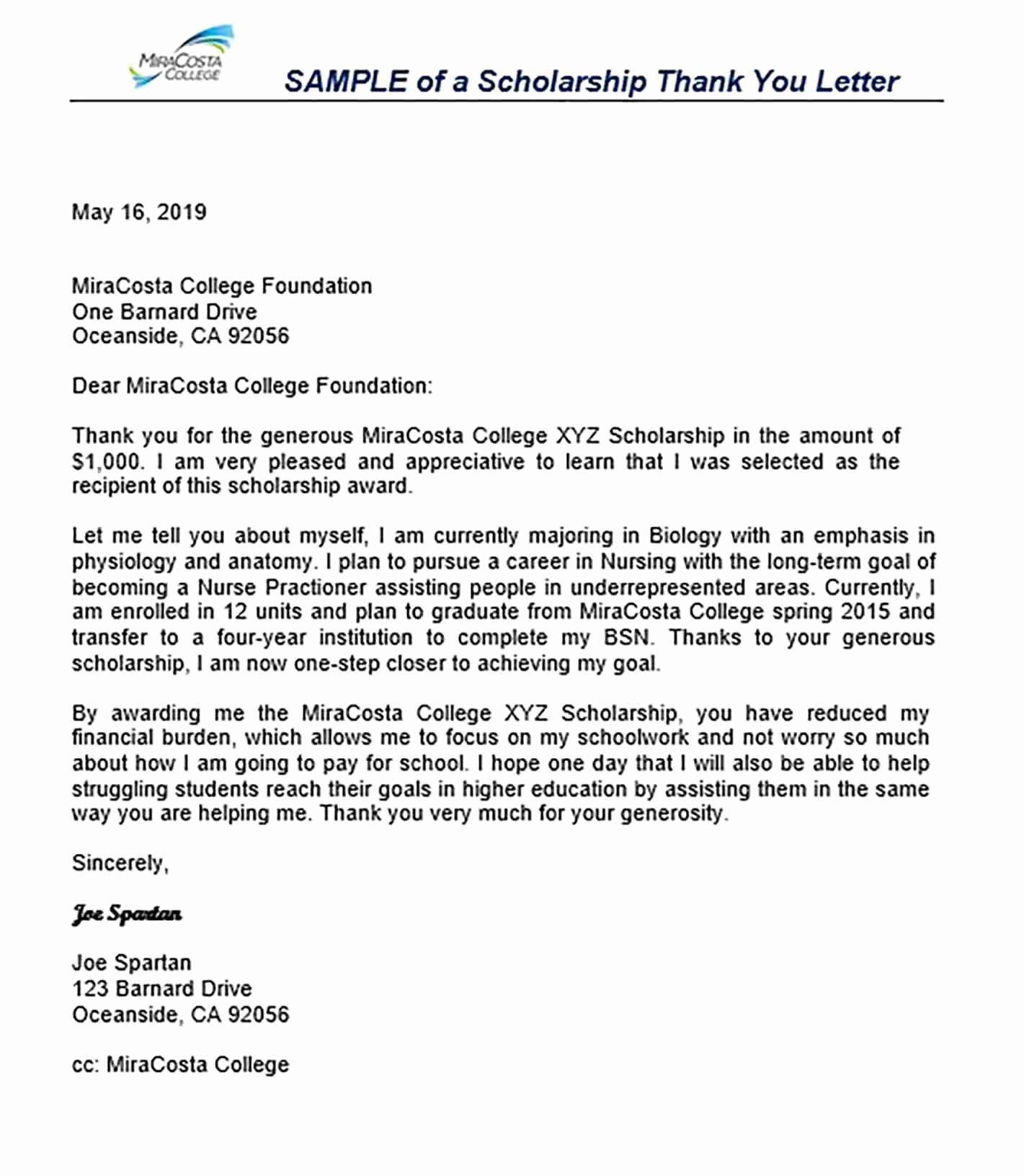 Sample Scholarship Thank You Letter Best Of 11 Scholarship
