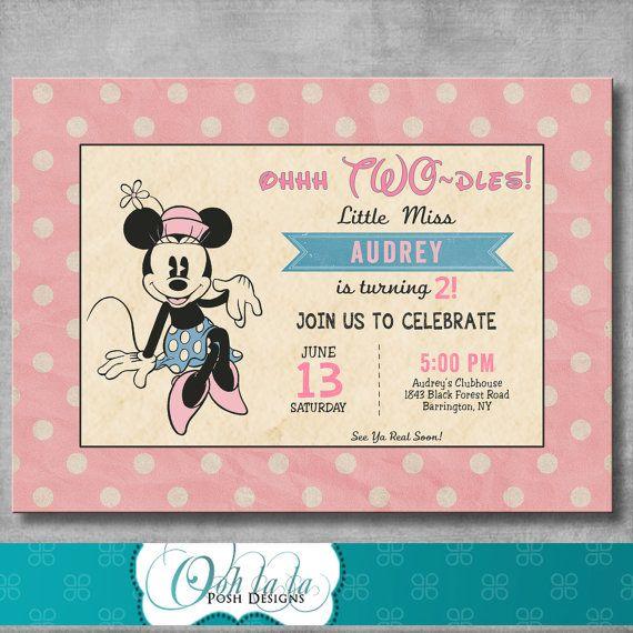 Vintage Minnie Mouse Birthday Invitation
