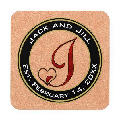 Custom Monogram Letter J For Couple Or Family Beverage Coaster