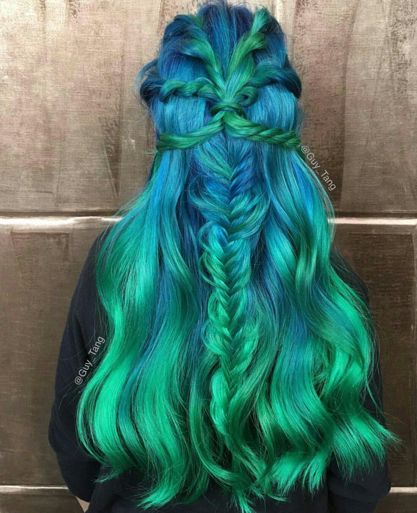 Color braid hair styles turquoise hair color green