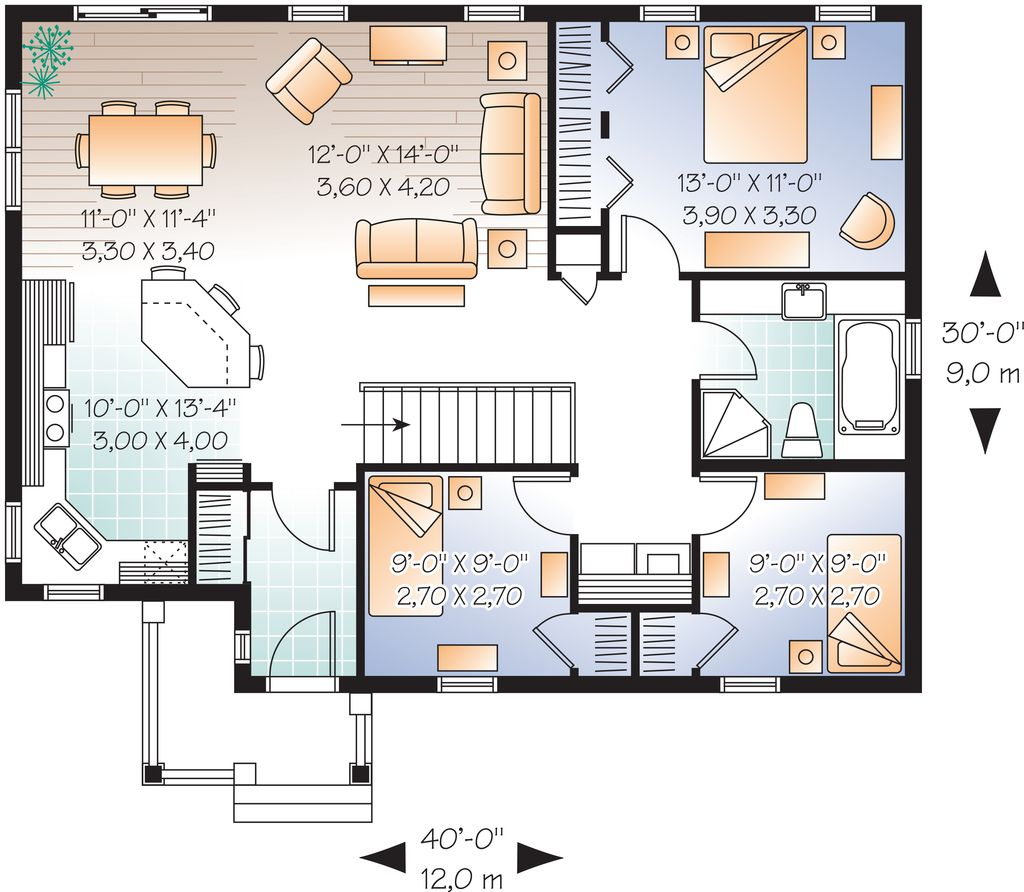 Main Floor Plan   1200 square foot cottage home   1160 sq ft 3 beds 1 00   Small  Home PlansCountry. Main Floor Plan   1200 square foot cottage home   1160 sq ft 3
