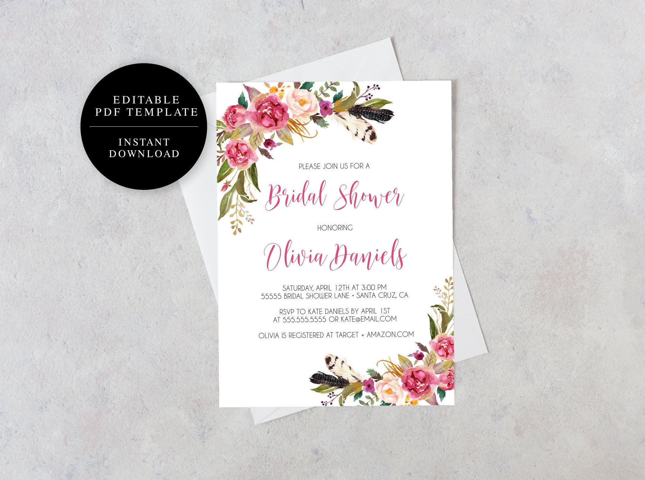 Printable Bridal Shower Invitation, Boho Bohemian, Editable, Instant ...