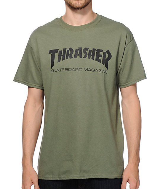 62055ac0543a Update your outfits with a unique army green colorway that showcases an  iconic Thrasher Skateboard Magazine logo graphic on the chest.